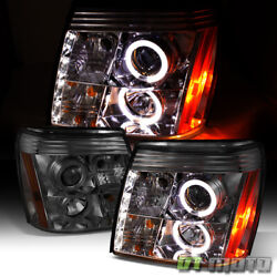Smoked 2002-2003 Cadillac Escalade Halo Projector Headlights W/daytime Drl Led