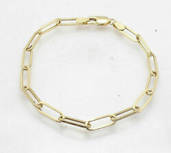 Fashion Oval Paper Clip Link Chain Bracelet Real Solid 10k Yellow Gold All Sizes