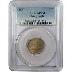 1857 Flying Eagle Cent Ms 64 Pcgs Copper-nickel Penny 1c Us Type Coin