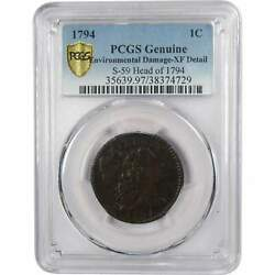 1794 S-59 Head Of 1794 Liberty Cap Large Cent Xf Details Pcgs Copper Penny 1c
