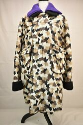 Prada Couture Nylon Sand Camo Double Breasted Wool Lined Zip Jacket Coat It 40