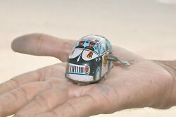 Vintage Penny/small Lti Police Petrol P.d Wind Up Car Litho Tin Toy