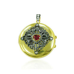 Genuine Ruby 0.82ct Pave Diamond Antique Gold Locket Pendant 925 Sterling Silver