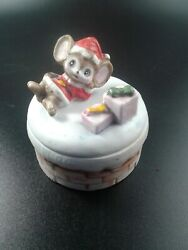 Vintage Homco Porcelain Trinket Box Christmas Mouse W/packages On The Chimney