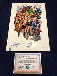 Avengers 1 Sdcc Heroes Campbell Color Litho Signed By Stan Lee And Campbell W/ Coa