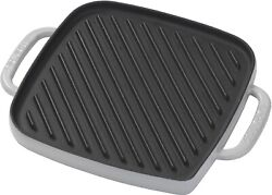Emeril Lagasse Enameled Cast Iron Reverisble Grill Griddle With Press Grey New
