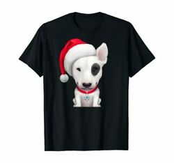 White english bull terrier with a black eye patch christmas T Shirt Size S 3XL;