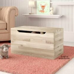 Toy Storage Box Trunk Solid Wood Chest Natural Finish Organizer Play Room Bench