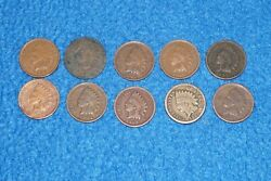 Lot Of 10 Indian Head Cent Penny Good 1906 1902 1907 1863 1887