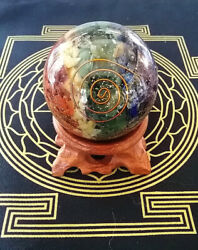 ORGONE CRYSTAL BALL 60MM ORGONE CHAKRA LAYER SPHERE With COPPER COIL And STAND