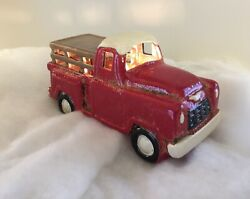New Farmhouse Vintage Red Truck Figure Night Light Electric Plug Lamp Pottery