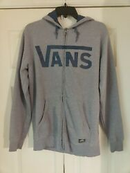 Vans Off The Wall Small Zip Up Hoodie Black and Camo Letters Full Zip Retro