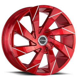 4ea 22 Strada Wheels Moto Candy Apple Red Milled Rimss45