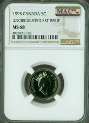 1993 Canada 5 Cents Ngc Mac Ms-68 Pq 2nd Finest Graded Pop-2 Spotless