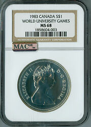 1983 Canada Silver Dollar Ngc Mac Ms68 Pq 2nd Finest Graded Spotless