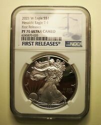 Buy1oz 2021-w Am Silver Eagle 1cn T-1 Ngc Pf70uc 1st Releases- Bal Of S Lab