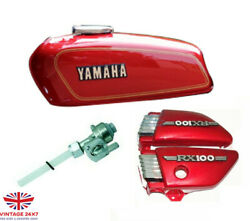 Yamaha Rx100 Rx125 Red Tank With Side Panel Lid Cap Tap And Emblem S2u|fit For