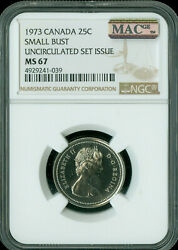 1972 Canada 25 Cents Ngc Mac Ms-67 Pq 2nd Finest Grade Spotless