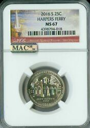2016-s Harpers Ferry Ngc Mac Ms67 Pq 2nd Finest Registry Mac Spotless