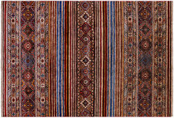 5and039 8 X 8and039 6 Khorjin Super Kazak Hand Knotted Wool Rug - Q5504