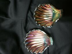 2 Pc Vintage Westmoreland Glass Footed Clam Shell Dish Bowl Carnival