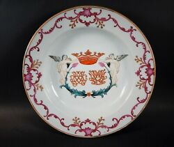 Antique Chinese Export Armorial Soup Plate With Crossed Leg Angels 18th Century