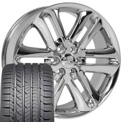 Chrome 22x9 3918 Wheels And Goodyear Tires Fit Ford Trucks - F150 Style
