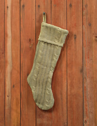 New Farmhouse Shabby Sage Green Cable Knit Sweater Christmas Stocking 17