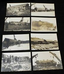 Lot Of 8 Old Antique Train Wreck Railroad Disaster Real Photo Postcards Rppc