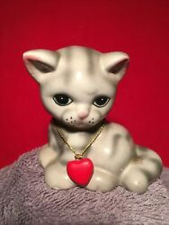 Russ Berrie and Co. Ceramic Gray Cat With a Red Heart Collar