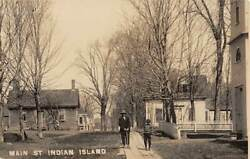 Penobscot Indian Island Reservation Me Main St People Real Photo Pc 1907-20