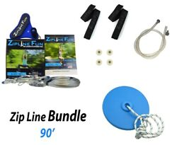 Adventure Parks Total Z90 Zipline Fun 90and039 Trolley And Cable Kit With Seat And Brake