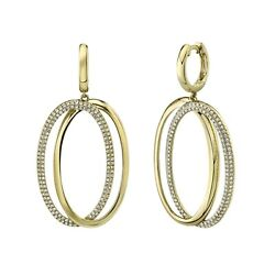 Oval Halo Diamond Earrings Drop 14k Yellow Gold Dangle Round Cut Natural 0.58ct