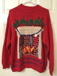 Eagle's Eye Vintage Christmas Sweater The Stockings Were Hung Size Large Rare