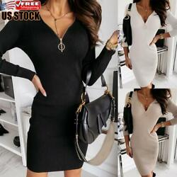 Women#x27;s V neck Long Sleeve Bodycon Dress Sexy Mini Short Party Evening Dresses $20.29