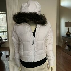 Northface Women's Ski Goose Down Jacket White With Brown Faux Fur Hood Size S $97.50