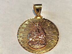 14kt Yellow Gold Mother Mary Pendant 37mm Wide