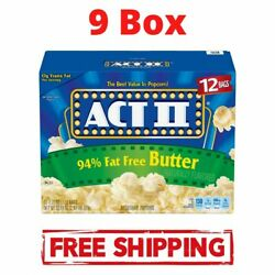 8 Boxes - Act Ii 94 Fat-free Butter Microwave Popcorn 2.71 Oz 12 Ct