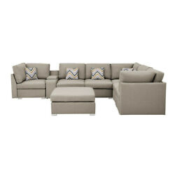 Lilola Home Amira Fabric Reversible Modular Sectional Sofa With Usb Console A...