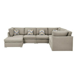 Lilola Home Amira Fabric Reversible Modular Sectional Sofa With Ottoman And P...