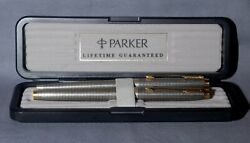 Minty Parker 75 Cisele Sterling Fountain And Bp Pen Set Made In France Uninked