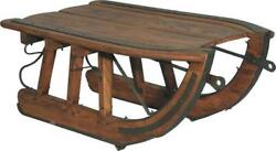 Handcrafted Logging Sled Coffee Table - Rustic Solid Wood - Iron Trim