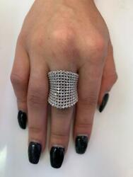 3.10 Tcw Round Diamonds Cocktail Ring In Solid 14k White Gold Size 6.5