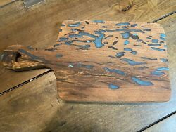 Texas Mesquite And Turquoise Inlay Cutting Board With Handle 6 X 12 X 1