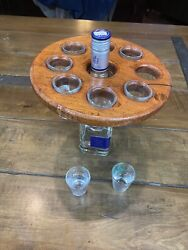 Texas Mesquite Wood And Royal Blue Inlay Eight Shot Glass Holder And Display