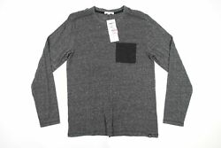 Threads 4 Thought Gris M Clair T-shirt Pur Extensible Poche Pull Hommes Nwt