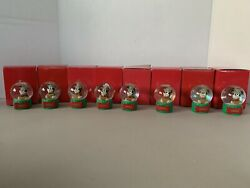 Jcpenney Disney Mickey Mouse Miniature Snow Globe 2005 - Lot Of 8