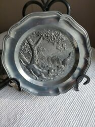 Vintage Pewter Tin Plate raised hunting theme with dog Angel logo $9.99