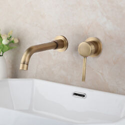 Bathroom Wall Mounted Tub Antique Brass 2pcs Waterfall Spout Mixer Tap Faucets