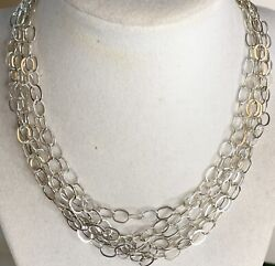 96 Inch Sterling Silver Liquid Links Necklace. 28grams Extra Long 925 Italy